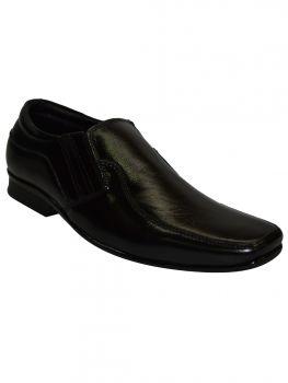 Ajanta Black Color Leather Shoe Slipon Jg1076
