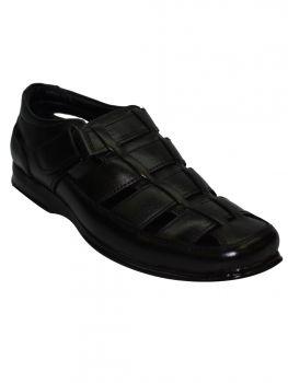 Imperio Black Color Leather Sandal Gb0650