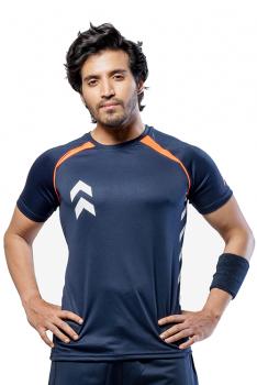 Impakto Men's Dry Fit T-shirt -Blue & Orange