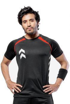 Impakto Men's Dry Fit T-shirt -Black & Red