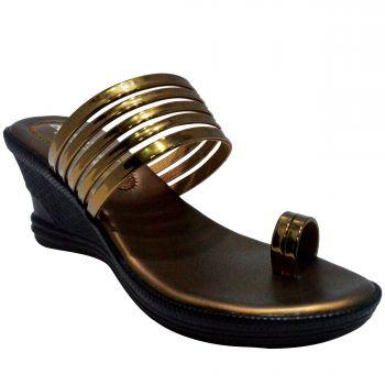 Ajanta Women's Classy Sandal Slippers - Copper