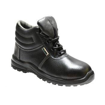 Ajanta Hillburg High Ankle Double Density Safety Shoe - Black